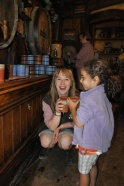 Maddie made great friends with our tour guide, who took her behind the bar of the Green Dragon Pub.